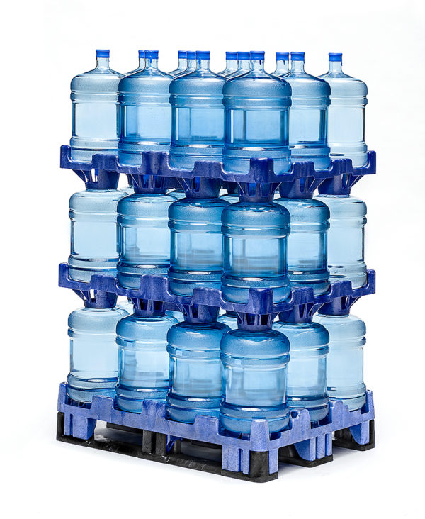 stack of 3 rows of water bottles using snap-on pallets