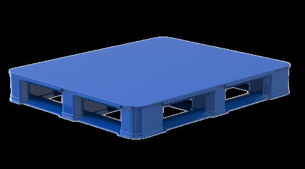 blue solid top double leg ratchet pallet