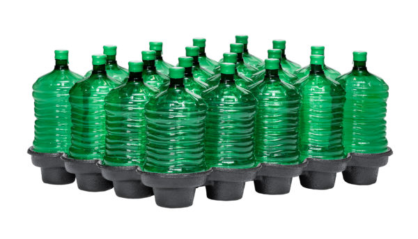 tray with green 4 gallon water bottles