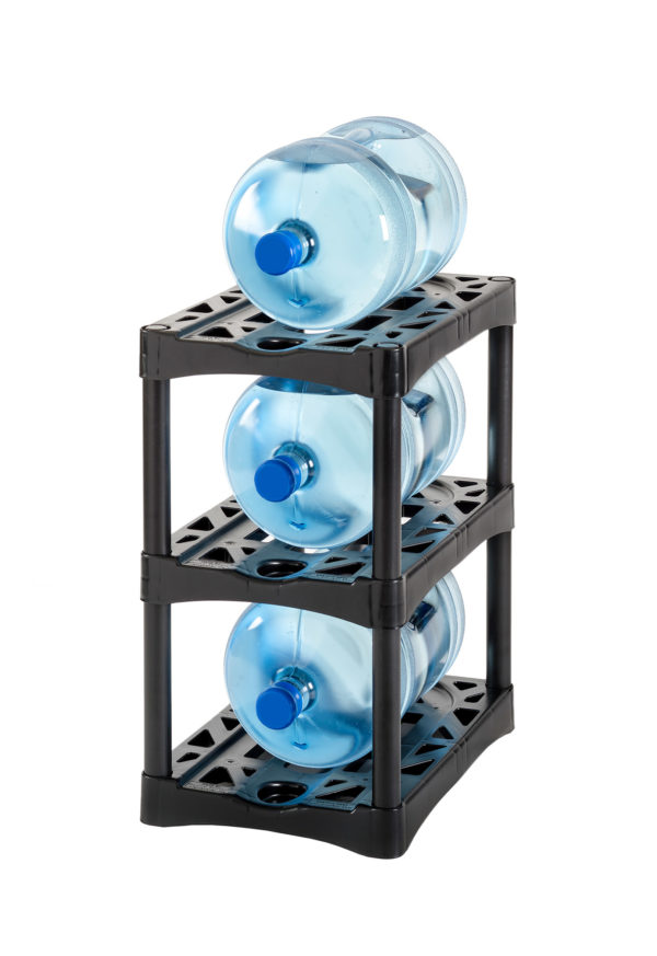 bottle up single wide 3 tray rack with black