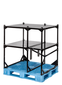 black case goods rack on top of blue pallet