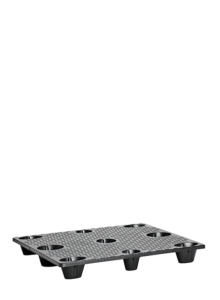 black nestable distribution pallet with 9 holes