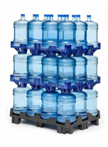 3 rows of UpRight platform system stacked bottles