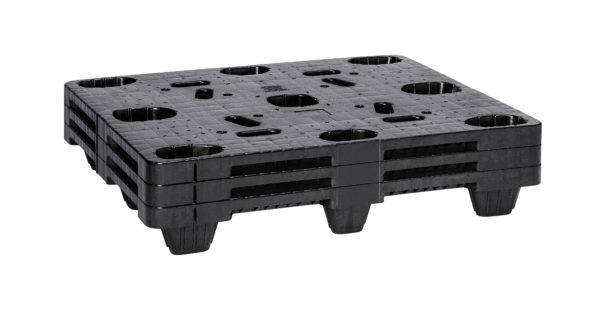 Black nestable pallet stack of 3