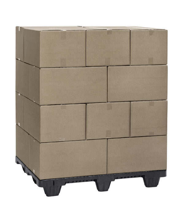 black nestable pallet with boxes stacked on top