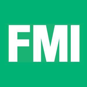 white fmi logo with green background