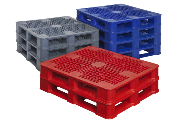 nested stacks of double leg ratchet pallets nested in red, grey and blue