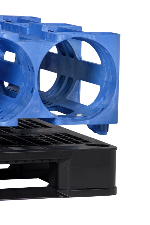blue ProStack modular storage on top of black pallet