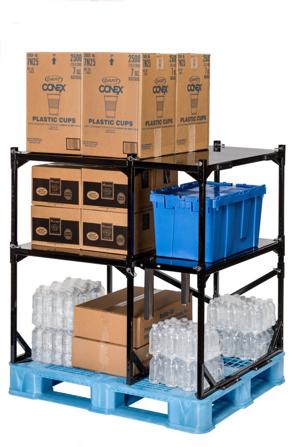 filled case goods rack storing cups, boxes, bottles and totes