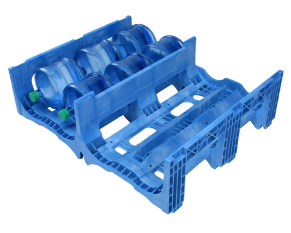 TierStack one piece blue model with bottles laying on their side